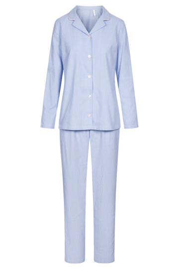 Pyjama mit Nadelzug Herrenhemd-Stil Knopfleiste Flanell 100% Baumwolle