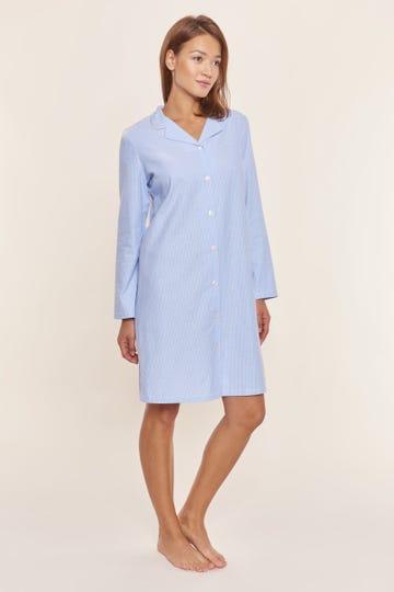 Nachthemd mit Nadelzug Herrenhemd-Stil Knopfleiste Flanell 100% Baumwolle