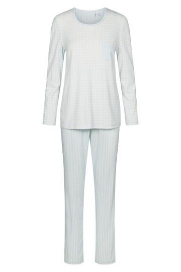 Pyjama im pastellfarbenen Mustermix Karo-Streifen Nadelzug 100% Baumwolle