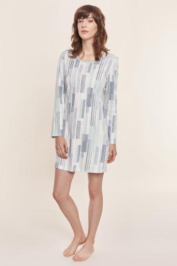 Bigshirt im modernen Streifenprint Artprint 100% Baumwolle