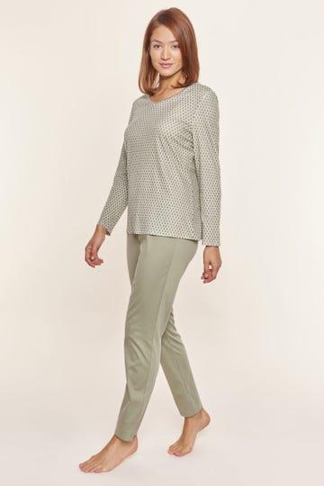Pyjama mit Grafikdruck Olivgrün 100% Baumwolle