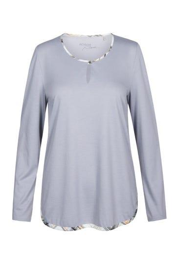 Pyjamashirt mit Paspeldetails im Karodruck Baumwolle/Modal Mix und Match Große Größen bis 54