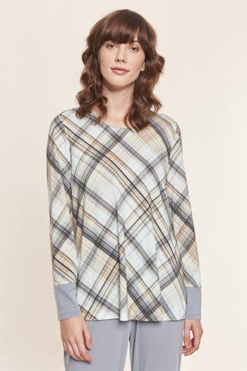 Langarmshirt im Karodruck grafisch Baumwolle/Modal Mix und Match Große Größen bis 54