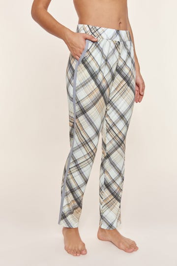 Pyjamahose im Karodruck Galonstreifen Baumwolle/Modal Mix und Match Große Größen bis 54