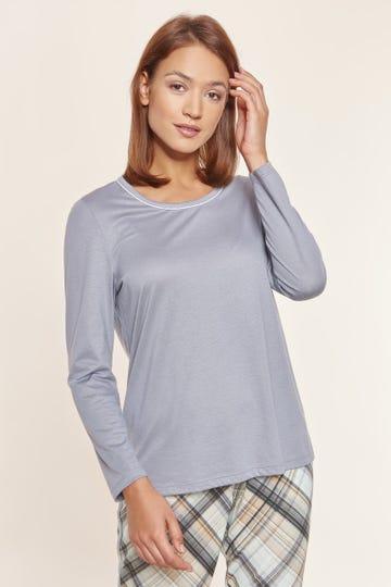 Basic Pyjamashirt in Steingrau sportiv Baumwolle/Modal Mix und Match Große Größen bis 54