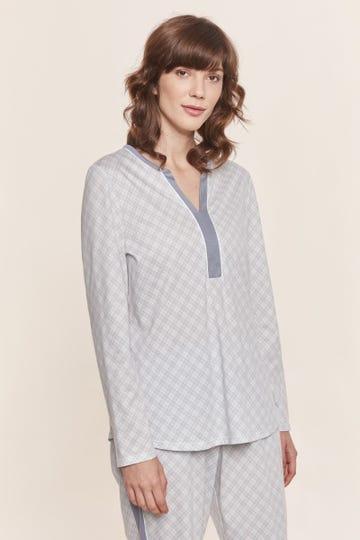 Pyjamashirt im pastellfarbenen Karodruck grafisch Baumwolle/Modal Mix und Match Große Größen bis 54