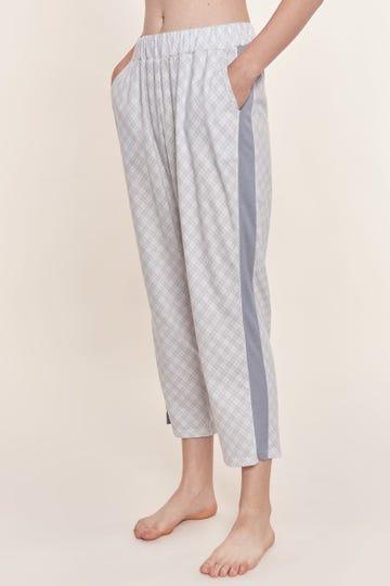 7/8-Pyjamahose im pastellfarbenen Karodruck Galonstreifen sportiv Baumwolle/Modal Mix und Match Große Größen bis 54