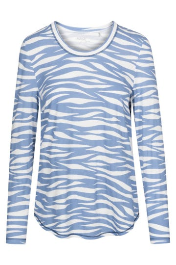 Pyjamashirt Langarm im Wellenprint maritim Mix & Match Baumwolle/Modal