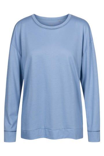 Langarmshirt mit Galonstreifen Hellblau Oversize sportiv Mix & Match Baumwolle/Modal