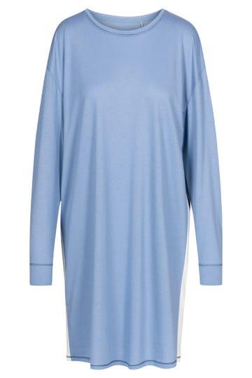 Bigshirt mit Galonstreifen Hellblau Oversize sportiv Baumwolle/Modal
