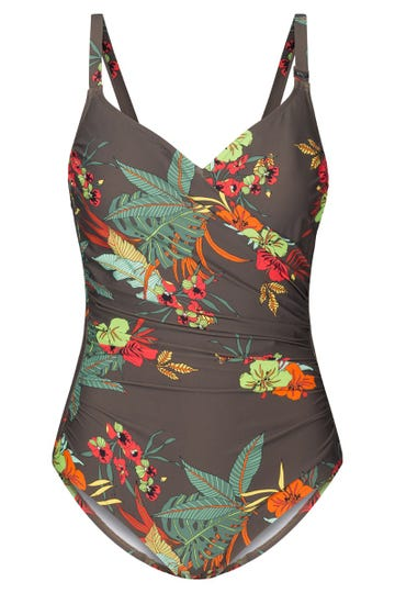 Badeanzug im Hawaii-Blumen-Muster exotisch Figurschmeichler Lycra 1215500