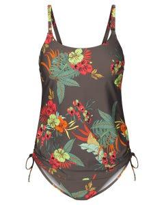 Tankini im Hawaii-Blumen-Muster exotisch Zweiteiler seitlich zum Raffen Lycra 1215501
