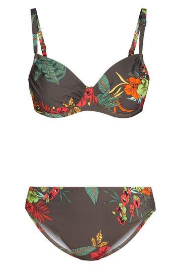 Bügel-Bikini im Hawaii-Blumen-Muster zweiteilig exotisch Lycra 1215502