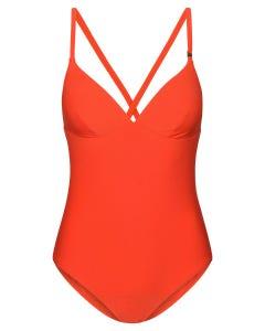 Badeanzug aus Strukturware gerippt Hot Red Lycra 1215505
