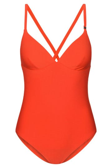 Badeanzug aus Strukturware gerippt Hot Red Lycra 1215505