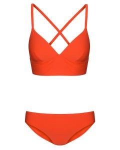 Bikini aus Strukturware gerippt Hot Red gekreuzt Lycra 1215506