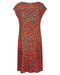 Strandkleid im modernen Leodruck kurzarm Animalprint Freizeitkleid elegant Viskose/Elasthan 1215509