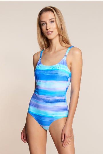 Badeanzug im Aquarellprint Ringel Blautöne Meeresfarben Lycra 1215521