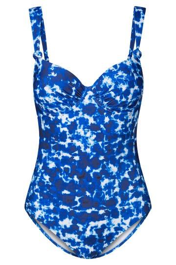Badeanzug im Batikprint Royalblau Meeresfarben Spacer-Cups Lycra 1215523