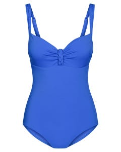 Badeanzug mit Flechtdetail Retro-Style Royalblau Spacer-Cups Lycra 1215525