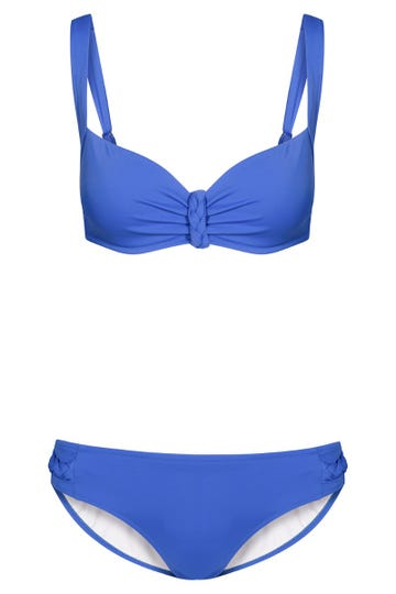 Bikini mit Flechtdetail Retro-Style Royalblau Spacer-Cups Lycra 1215526