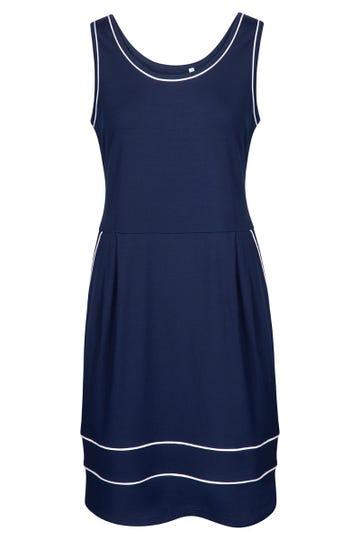 Freizeitkleid ärmellos mit eleganten Paspeldetails Strandkleid Viskose/Elasthan 1215538