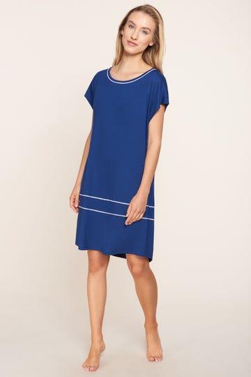 Freizeitkleid kurzarm mit eleganten Paspeldetails Strandkleid Viskose/Elasthan 1215539