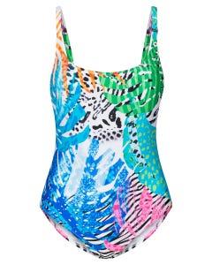 Schwimmer im Tropical Print exotisch Badeanzug Lycra 1215542