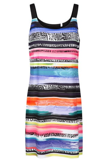 Trägerkleid im farbenfrohen Ringelprint mit Seitenstreifen Viskose/Elasthan 1215556