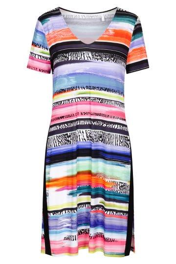 Freizeitkleid im farbenfrohen Ringelprint mit Seitenstreien Viskose/Elasthan 1215557
