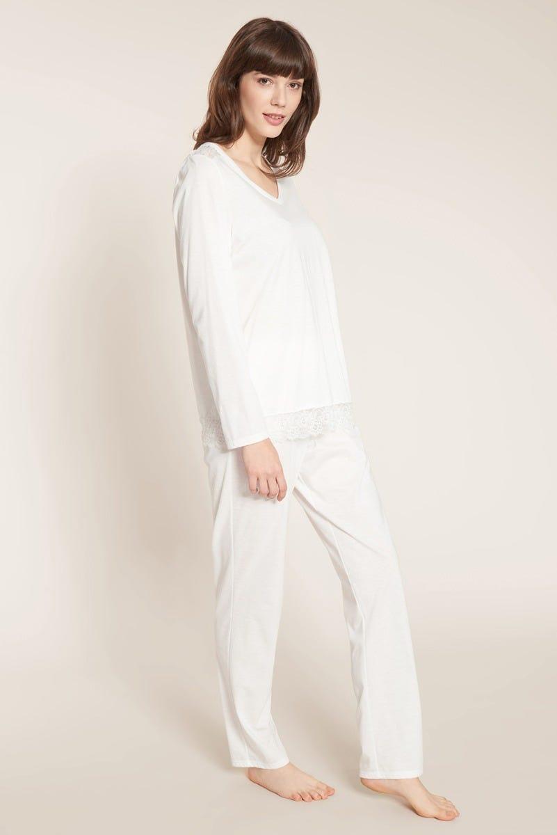 Basic Pyjama lang mit Spitzendetails Baumwolle Tender Romance