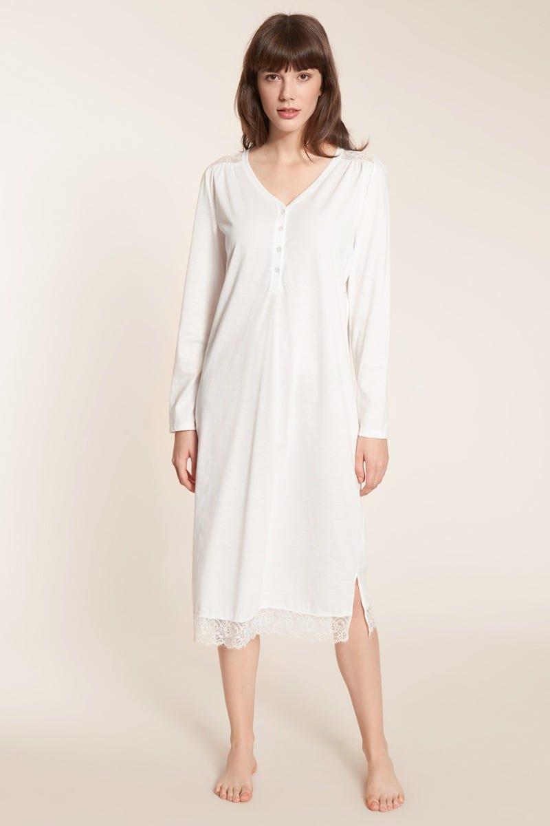 Nachtkleid lang mit Spitzendetails Knopfleiste Baumwolle Tender Romance