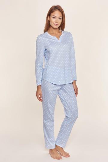 Pyjama lang im Mustermix Punkte Streifen Nadelzug verspielt 100% Baumwolle
