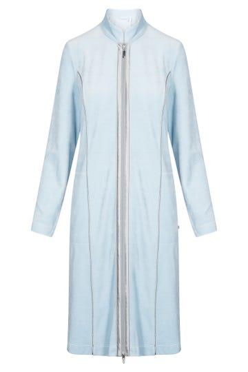 Nicki-Morgenmantel kurz figurschmeichelnd Reißverschluss Baumwolle/Polyester