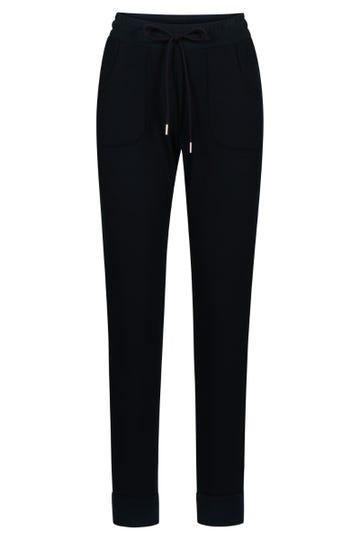 Sweathose mit Logodetail Navyblau Ripp-Bündchen Loungehose lässig Baumwolle/Elasthan