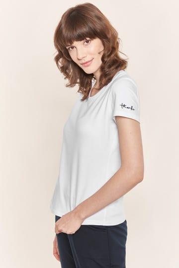 Basic T-Shirt mit Logodruck Weiß klassisch Baumwolle/Elasthan