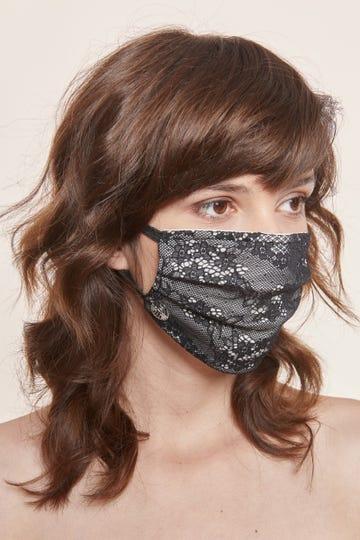 1 wiederverwendbare dreilagige Mund- und Nasenmaske mit Spitze und Nasenbügel, Größe M