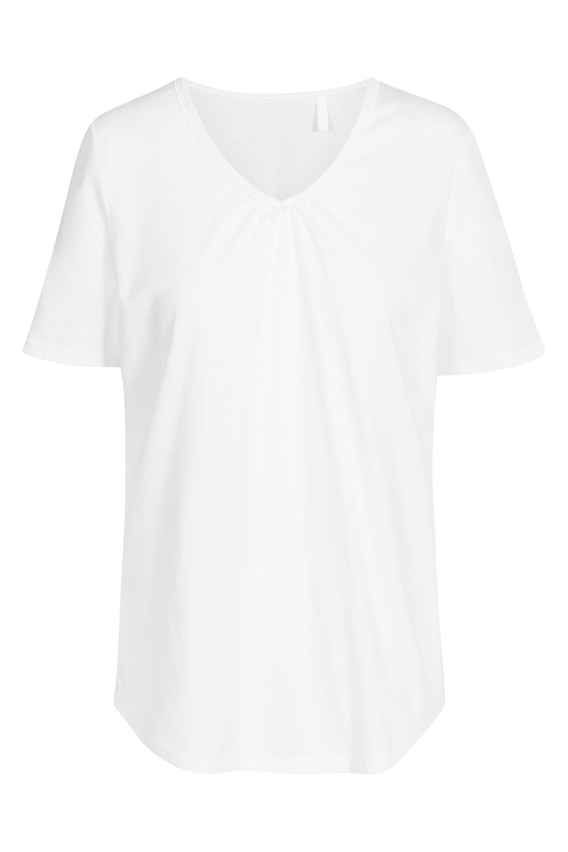 T-Shirt mit dezenter Spitzenborte