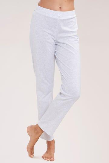 Pyjamahose lang mit dezenter Spitzenborte